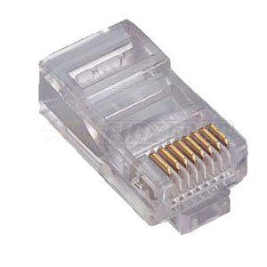 CON-RJ45CR RJ45 Gold Plated Pins Round Cable Crimp on Terminator/Plug - 10 Pack